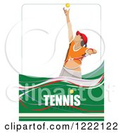 Clipart Of A Female Tennis Player With Text Royalty Free Vector Illustration