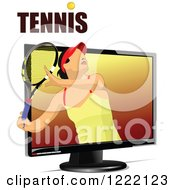 Clipart Of A Female Tennis Player And Text Through A Screen Royalty Free Vector Illustration