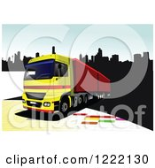 Clipart Of A Big Rig Truck In A City Royalty Free Vector Illustration