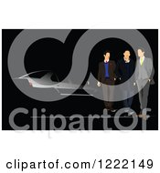 Clipart Of Men On A Black Car Background Royalty Free Vector Illustration