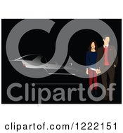 Clipart Of A Couple And Black Car Background Royalty Free Vector Illustration
