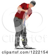 Clipart Of A Male Golfer Royalty Free Vector Illustration