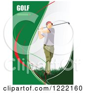 Clipart Of A Male Golfer With Text Royalty Free Vector Illustration