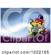 Clipart Of A Biker Riding A Motorcycle Royalty Free Vector Illustration