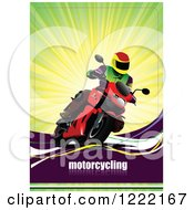 Clipart Of A Biker Riding A Motorcycle With Text Royalty Free Vector Illustration