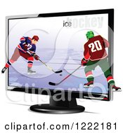 Clipart Of Hockey Players Emerging Through A Tv Royalty Free Vector Illustration