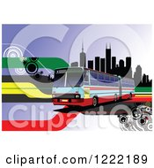 Clipart Of A Bus In A City Royalty Free Vector Illustration