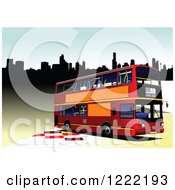 Clipart Of A Double Decker Bus In A City Royalty Free Vector Illustration
