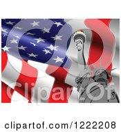 Wavy American Flag And Statue Of Liberty