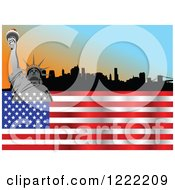 Wavy American Flag And Statue Of Liberty Over A City Skyline