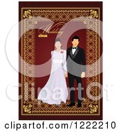 Couple With Wedding Album Text On Red