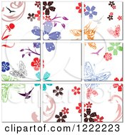 Clipart Of A Floral Butterfly Tile Background Royalty Free Vector Illustration