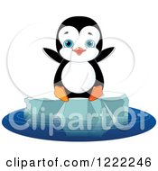 Clipart Of A Cute Baby Penguin Sitting On Floating Ice Royalty Free Vector Illustration