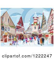 Clipart Of A Dog And People Strolling And Christmas Shopping In A Village In The Snow Royalty Free Vector Illustration