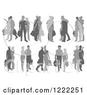 Clipart Of Grayscale Silhouetted Couples Shopping Royalty Free Vector Illustration