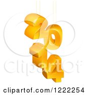 Clipart Of Suspended Orange 3d 2014 New Year Numbers Royalty Free Vector Illustration