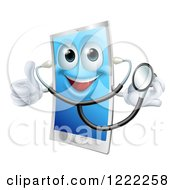 Happy Doctor Smart Phone Wearing A Stethoscope And Holding A Thumb Up