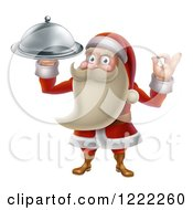 Clipart Of A Young Santa Claus Holding A Food Platter And Gesturing Ok Royalty Free Vector Illustration