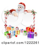 Clipart Of Santa Claus Pointing Down To A Candy Cane Sign With Presents Royalty Free Vector Illustration