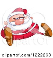 Clipart Of A Chubby Stubborn Santa Claus Sitting With Folded Arms Royalty Free Vector Illustration