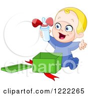 Clipart Of A Caucasian Baby Boy Opening A Bottle As A Gift Royalty Free Vector Illustration