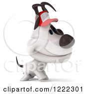 Clipart Of A 3d Walking Jack Russell Terrier Dog Wearing A Hat Royalty Free Illustration