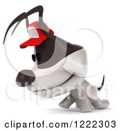 Clipart Of A 3d Walking Jack Russell Terrier Dog Wearing A Hat 2 Royalty Free Illustration