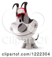 Clipart Of A 3d Happy Jack Russell Terrier Dog Wearing A Hat Royalty Free Illustration