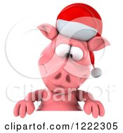 Clipart Of A 3d Christmas Pig Looking Down At A Sign Royalty Free Illustration