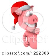 Clipart Of A 3d Christmas Pig Looking Around A Sign Royalty Free Illustration by Julos