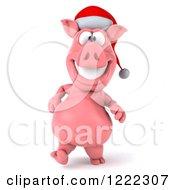 Clipart Of A 3d Walking Christmas Pig Wearing A Santa Hat Royalty Free Illustration