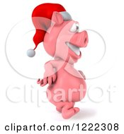 Clipart Of A 3d Walking Christmas Pig Wearing A Santa Hat Royalty Free Illustration by Julos