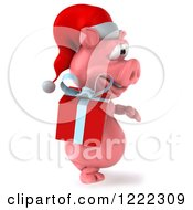 Clipart Of A 3d Walking Christmas Pig Carrying A Present 4 Royalty Free Illustration
