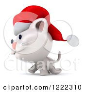 Clipart Of A 3d White Christmas Cat Wearing A Santa Hat And Walking Left Royalty Free Illustration