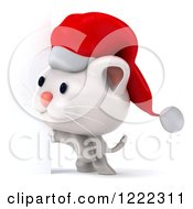Clipart Of A 3d White Christmas Cat Wearing A Santa Hat By A Sign Royalty Free Illustration