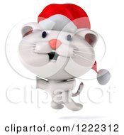 Clipart Of A 3d White Christmas Cat Wearing A Santa Hat And Jumping Royalty Free Illustration