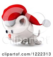 Clipart Of A 3d White Christmas Cat Wearing A Santa Hat And Walking Left 2 Royalty Free Illustration