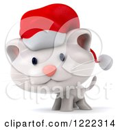 Clipart Of A 3d White Christmas Cat Wearing A Santa Hat Royalty Free Illustration