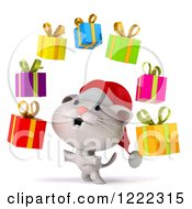Clipart Of A 3d White Christmas Cat Juggling Presents Royalty Free Illustration