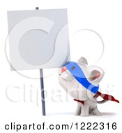 Clipart Of A 3d White Super Kitten By A Sign Royalty Free Illustration