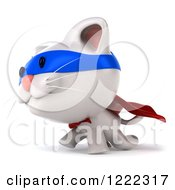 Clipart Of A 3d White Super Kitten Walking Royalty Free Illustration