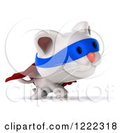 Clipart Of A 3d White Super Kitten Walking 2 Royalty Free Illustration
