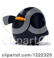 3d Chubby Black Bird Mascot Presenting