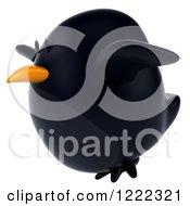 3d Chubby Black Bird Mascot Flying