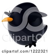 Clipart Of A 3d Chubby Black Bird Mascot Flying Royalty Free Illustration by Julos