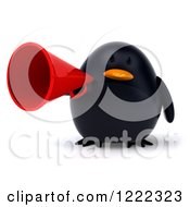 3d Chubby Black Bird Mascot Using A Megaphone
