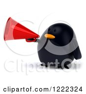 3d Chubby Black Bird Mascot Using A Megaphone 2
