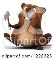 Clipart Of A 3d Beaver Mascot Walking With A Hatchet Royalty Free Illustration