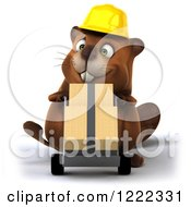 Clipart Of A 3d Beaver Construction Worker Mascot Pushing Boxes On A Dolly Royalty Free Illustration