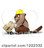Clipart Of A 3d Beaver Construction Worker Mascot Pushing Boxes On A Dolly 2 Royalty Free Illustration